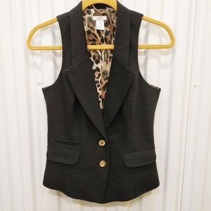 Cache Black 2-Button Vest sz S